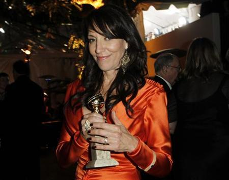 Actress Katey Sagal holds her award for Best Performance by an Actress in a Television Series-Drama for ''Sons of Anarchy,'' at The Weinstein Company and Relativity Media's after-party for the 68th annual Golden Globe Awards in Beverly Hills, California January 16, 2011. REUTERS/Danny Moloshok
