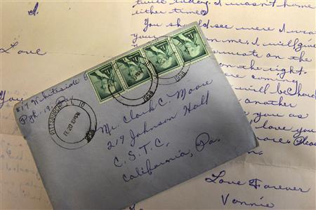 A post-marked letter mailed on February 20, 1958 delivered to the mailroom at the California University of Pennsylvania on July 8, 2011. The letter was being mailed to student Clark C. Moore who lived inside Jonson Hall on campus during his studies in the late 50's. REUTERS/California University of Pennsylvania