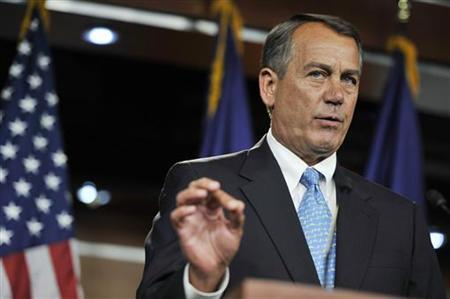 U.S. House Speaker John Boehner (R-OH) speaks about talks aimed at averting a looming U.S. debt default, at the U.S. Capitol in Washington, July 11, 2011. REUTERS/Jonathan Ernst