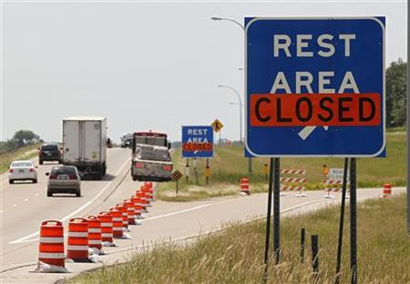 Rest areas along I-35 in southern Minneosta are closed due to the state government shutting down on Friday going into the July 4 holiday after Democratic Governor Mark Dayton and Republican legislative leaders failed to reach a budget deal in St. Paul, Minnesota Friday July 1, 2011. REUTERS/Andy King