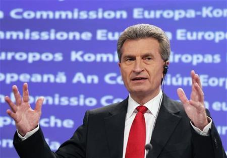 European Energy Commissioner Guenther Oettinger addresses a news conference at the EU Commission headquarters, in Brussels May 25, 2011. REUTERS/Francois Lenoir