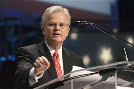 Former Louisiana Governor Charles ''Buddy'' Roemer speaks during the Iowa Faith & Freedom Coalition's Spring Event at Point of Grace Church in Waukee, Iowa March 7, 2011. REUTERS/Brian C. Frank