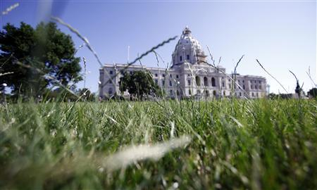 Grass grows in front of the state capitol building after Minnesota Gov. Mark Dayton signs a dozen bills that eliminate the state's $5 billion budget deficit and reopen state government and services that have been shut down for three weeks, in St. Paul, July 20, 2011. REUTERS/Eric Miller