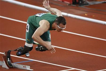 South Africa's Oscar Pistorius starts of the block on his way to win the gold medal in the athletics men's 400M T44 finals at the Beijing 2008 Paralympic Games September 16, 2008. REUTERS/Claro Cortes IV