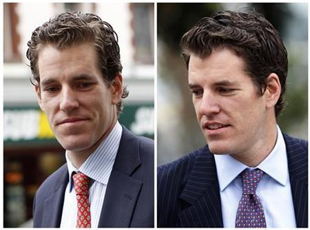 Cameron Winklevoss (L) and twin brother Tyler Winklevoss are shown in this combination photo leaving the 9th Circuit Court of Appeals after a hearing on a settlement dispute with Facebook's Mark Zuckerberg in San Francisco, California January 11, 2011. REUTERS/Stephen Lam