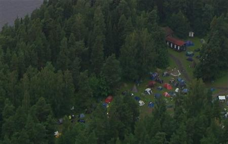An aerial view of Utoeya island is seen in this still image taken from video footage on July 22, 2011, where a shooting took place at a meeting of the youth wing of Norway's ruling Labour Party. REUTERS/TV2 Norway via Reuters TV