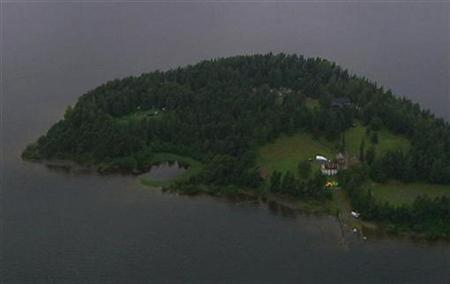 An aerial view of Utoeya island is seen in this still image taken from video footage on July 22, 2011, where a shooting took place at a meeting of the youth wing of Norway's ruling Labour Party.REUTERS/TV2 Norway via Reuters TV