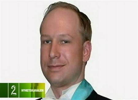 A photograph of Norwegian attack suspect Anders Behring Breivik is broadcast by Norwegian television July 23, 2011. REUTERS/TV2 Norway via Reuters TV