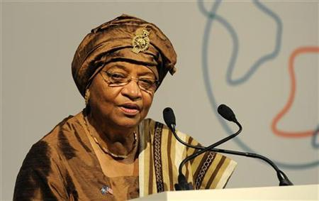 President of Liberia, Ellen Johnson-Sirleaf speaks at the Global Alliance for Vaccines and Immunisation (GAVI) conference in London June 13, 2011. REUTERS/Paul Hackett