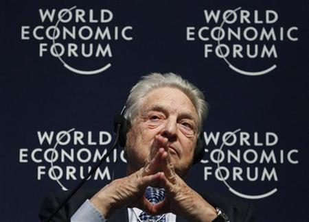 Soros Fund Management Chairman, George Soros, attends a session at the World Economic Forum (WEF) in Davos, January 27, 2011. REUTERS/Christian Hartmann