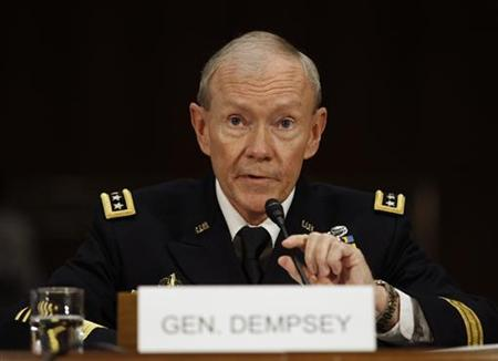 U.S. Army General Martin Dempsey appears at his confirmation hearing for Chairman of the Joint Chiefs of Staff, on Capitol Hill in Washington, July 26, 2011.REUTERS/Jason Reed