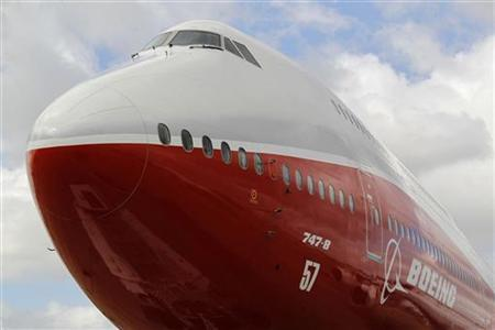 The new Boeing 747-8 Intercontinental jetliner is parked on the eve of the Paris Air Show at Le Bourget airport near Paris, June 19, 2011. REUTERS/Pascal Rossignol