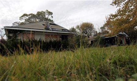 An abandoned and dilapidated home, one of 32 abandoned properties in the neighborhood listed on the auction block during the Wayne County tax foreclosures auction of almost 9,000 properties is seen in Detroit, Michigan, October 21, 2009. REUTERS/Rebecca Cook