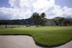 <p>Tourist play golf at the Royal Saint Kitts golf course, outside Basseterre June 11, 2009. REUTERS/Eduardo Munoz</p>