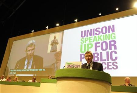 General secretary of Unison, Dave Prentis, speaks to delegates during his keynote speech at their conference in Manchester, June 21, 2011. REUTERS/Nigel Roddis