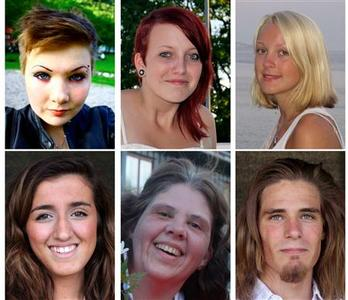 Six of 76 victims killed in the July 22 bomb attack in central Oslo and shooting rampage in Utoeya island. REUTERS//Norsk Folkehjelp/Knut Utler/Scanpix