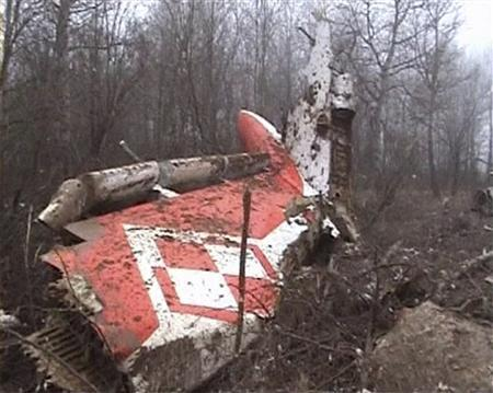 The wreckage of a Polish government TU-154 Tupolev aircraft carrying Poland's president that crashed in Russia in April 2010. REUTERS/ Sergei Karpukhin