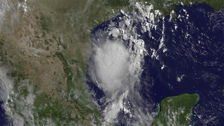 Tropical Storm Don moving northwest toward the south Texas coastal area in a satellite image taken July 29, 2011. REUTERS/NOAA