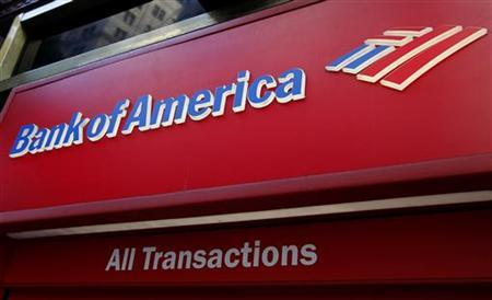 The sign on a Bank of America ATM machine is pictured in downtown Los Angeles October 8, 2010. REUTERS/Fred Prouser