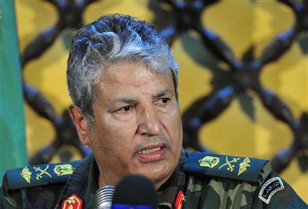 Head of the rebel forces Abdel Fattah Younes attends a news conference in Benghazi April 5, 2011. REUTERS/Esam al-Fetori