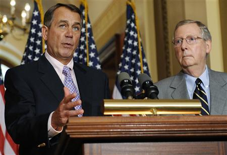 U.S. House Speaker John Boehner (R-OH) (L) and Senate Minority Leader Mitch McConnell (R-KY) speak at a news conference about the U.S. debt ceiling crisis at the U.S. Capitol in Washington July 30, 2011. REUTERS/Jonathan Ernst