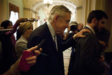 U.S. Senate Majority Leader Harry Reid (D-NV) walks from a meeting with Senate Minority Leader Mitch McConnell on the debt ceiling crises on Capitol Hill in Washington July 31, 2011. REUTERS/Joshua Roberts