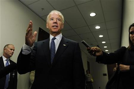 Vice President Joe Biden speaks to reporters after meeting with House Democrats about debt relief legislation at the U.S. Capitol in Washington August 1, 2011. REUTERS/Jonathan Ernst
