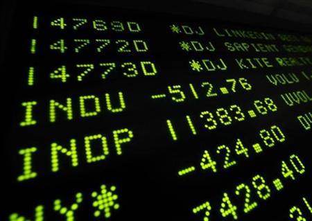 A board at the New York Stock Exchange shows the final trading numbers for the day, August 4, 2011. REUTERS/Brendan McDermid
