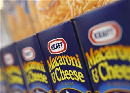 Kraft Macaroni and Cheese is displayed at the company's headquarters in Northfield, Illinois February 10, 2009. REUTERS/John Gress