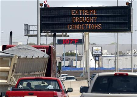 A highway sign and a retail sign detail the current drought and extreme temperatures currently plaguing the southwest U.S. in Fort Worth, Texas August 5, 2011. REUTERS/Mike Stone