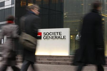 The entrance to the headquarters of French bank Societe Generale, seen in this January 30, 2008 file photo, in La Defense, outside Paris. REUTERS/Benoit Tessier /Files