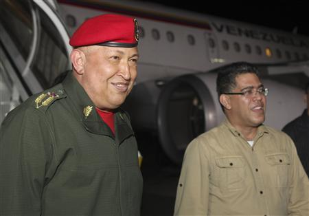 Venezuela's President Hugo Chavez arrives back from Cuba at Simon Bolivar national airport in Maiquetia outside Caracas August 14, 2011. REUTERS/Miraflores Palace/Handout