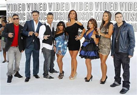 The cast of ''Jersey Shore'' pose upon their arrival at the 2010 MTV Video Music Awards in Los Angeles, California, September 12, 2010. REUTERS/Lucy Nicholson