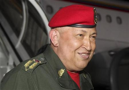 Venezuela's President Hugo Chavez arrives back from Cuba at Simon Bolivar national airport in Maiquetia outside Caracas August 14, 2011. REUTERS/Miraflores Palace/Handout