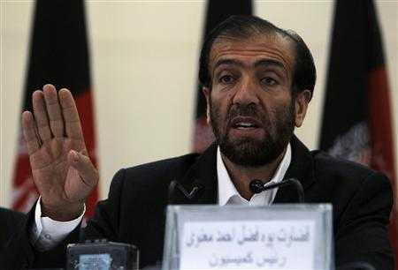 Fazl Ahmad Manawi, chairman of the Afghan Independent Election Commission, speaks during a news conference in Kabul August 21, 2011. REUTERS/Omar Sobhani