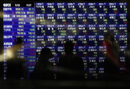People, standing in front of an electronic board displaying share prices, wait to cross a street as cars pass by in Tokyo, August 22, 2011. REUTERS/Yuriko Nakao