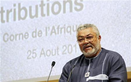 Former Ghanaian President and African Union High Representative for Somalia, Jerry Rawlings, attends the Africa Union summit in Ethiopia's capital Addis Ababa August 25, 2011. REUTERS/Stringer
