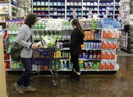 Shoppers inspect cleaning supplies while shopping inside of a Bed Bath & Beyond store in New York, April 13, 2011. REUTERS/Lucas Jackson