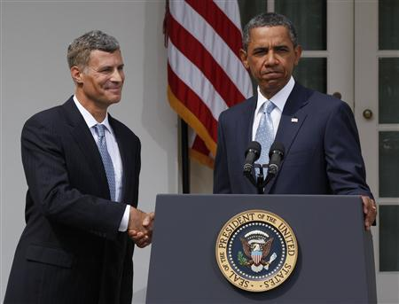 President Obama announces that labor economist Alan Krueger will replace Austan Goolsbee as the Chairman of the White House Council of Economic Advisers in the Rose Garden of the White House, August 29, 2011. REUTERS/Larry Downing