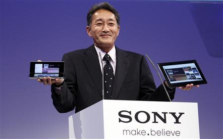Kazuo Hirai, President and Group CEO of Sony Computer Entertainment, presents the new Sony S tablet (R) and the P tablet during a news conference at the IFA consumer electronics fair in Berlin August 31, 2011.Sony Corp took the wraps off its long-awaited tablets on Wednesday with price tags that could hurt the company's chances to compete for the No. 2 spot in the tablet market. In Europe, the S tablet will cost 479 euros and will be in stores in September. Sony said the S tablet is unique because of a universal remote inside the computer that can be used to control stereos, cable television boxes and TV sets of many brands. The P tablet comes with 4 GB of memory and looks like a clutch purse. It has two 5.5-inch screens that can be folded together and weighs less than a pound. In Europe, the P tablet will cost 599 euros and be out in November. REUTERS/Tobias Schwarz