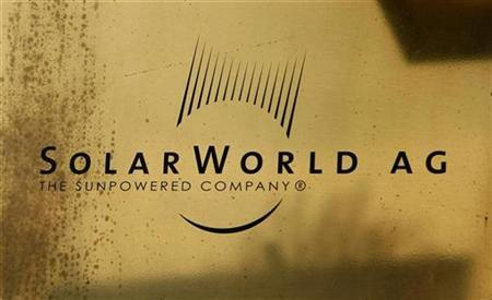 The company sign of Solarworld AG is pictured at their headquarters in Bonn in this November 19, 2008 file photo. REUTERS/Ina Fassbender/Files