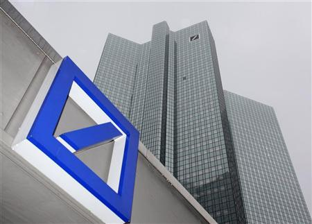 A Deutsche Bank logo is pictured in front of the Deutsche Bank headquarters in Frankfurt February 24, 2011. REUTERS/Ralph Orlowski (GERMANY - Tags: BUSINESS)