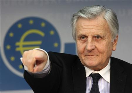 Jean-Claude Trichet, President of the European Central Bank (ECB) answers questions during his monthly news conference at the ECB headquarters in Frankfurt, in this August 4, 2011 file photo. Trichet pressed Italy on September 3, 2011 to deliver on its promises to get its strained public finances in order, saying it was essential to restore fragile market confidence. REUTERS/Ralph Orlowski/Files