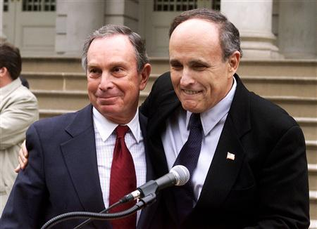 New York City Mayor Rudy Giuliani embraces mayoral candidate Mike Bloomberg at a press conference on the steps of City Hall in New York in this October 27, 2001 file photo. Had it not been for the Sept. 11 attacks, neither Giuliani nor Bloomberg would have such high profiles on the American political stage. If Giuliani is always remembered as the 9/11 mayor of New York City for his leadership in the days of fear that followed, then Bloomberg will be recalled as the mayor who cajoled New Yorkers to focus on the future after the worst tragedy in their history. REUTERS/Brad Rickerby/Files