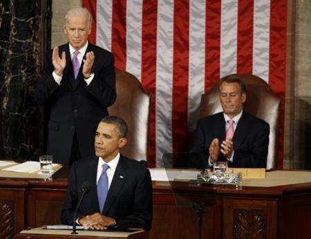 President Barack Obama addresses a joint session of Congress on Capitol Hill in Washington September 8, 2011. REUTERS/Larry Downing