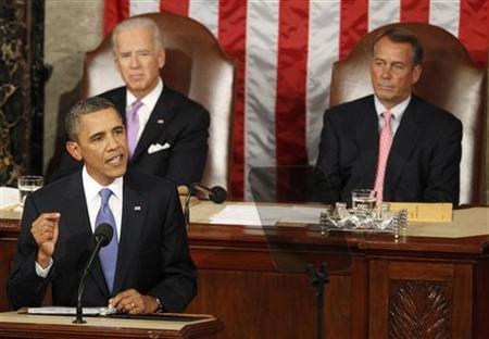 U.S. President Barack Obama addresses a joint session of Congress on Capitol Hill in Washington September 8, 2011. REUTERS/Larry Downing