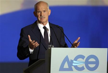 Greece's Prime Minister George Papandreou addresses the audience at the International Trade fair of Thessaloniki in northern Greece September 10, 2011. REUTERS/Motion team/Fani Tripsani (GREECE - Tags: BUSINESS POLITICS TPX IMAGES OF THE DAY)