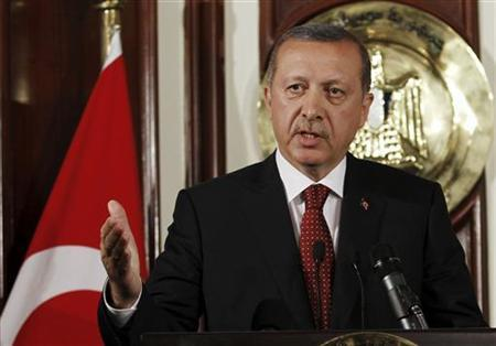 Turkey's Prime Minister Recep Tayyip Erdogan speaks during a news conference with Egypt's Prime Minister Essam Sharaf at the Prime Minister's building in Cairo September 13, 2011. REUTERS/Mohamed Abd El-Ghany
