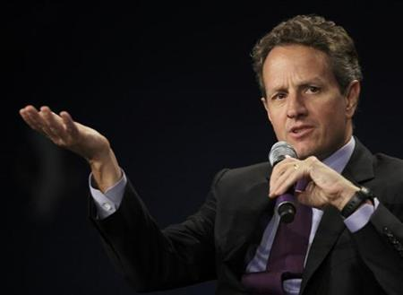 U.S. Treasury Secretary Timothy Geithner speaks at the Clinton Global Initiative in Chicago, June 30, 2011. REUTERS/John Gress