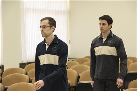 American hikers Shane Bauer (L) and Josh Fattal attend the first session of their trial at the revolutionary court in Tehran February 6, 2011. REUTERS/PRESS TV